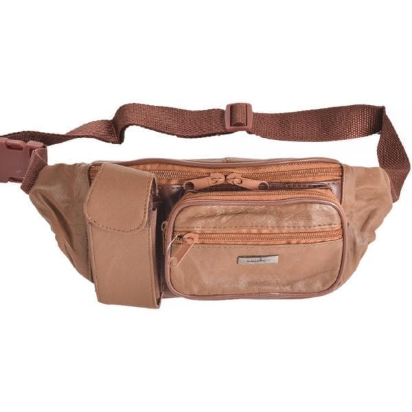 Lightweight Nappa Leather Waist Bag with Phone Pocket in Tan