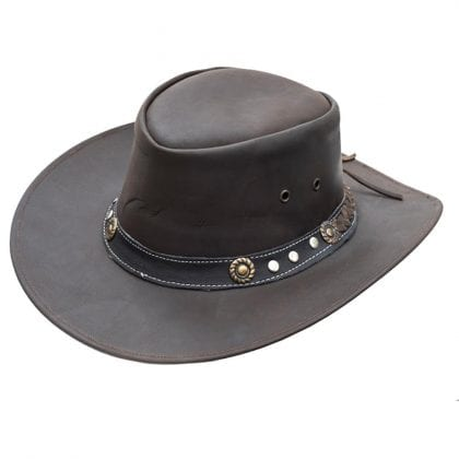 Wombat Leather Full Grain Leather Cowboy Hat - Ranger - Front