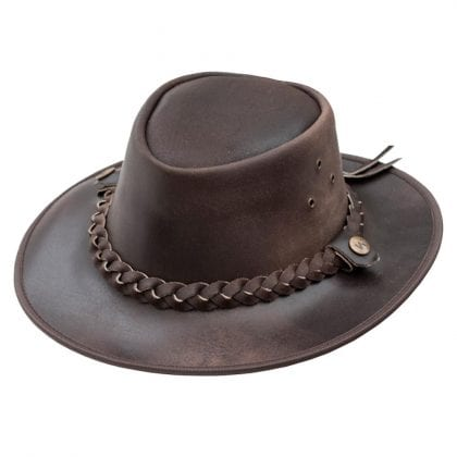 Wombat Leather Soft Leather Cowboy Hat - Outback - Front