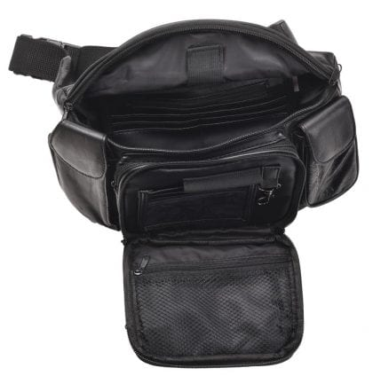 Soft Large Leather Organiser Waist Bag - Bumbag - Open