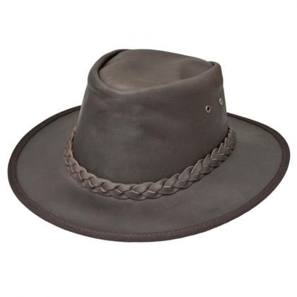 Wombat Leather Soft Foldable Cowboy Leather Hat - Ridge Hill - Front