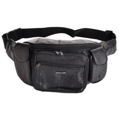 Soft Large Leather Organiser Waist Bag - Bumbag