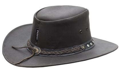 Wombat Leather Full Grain Leather Cowboy Hat - Ranger - Rear
