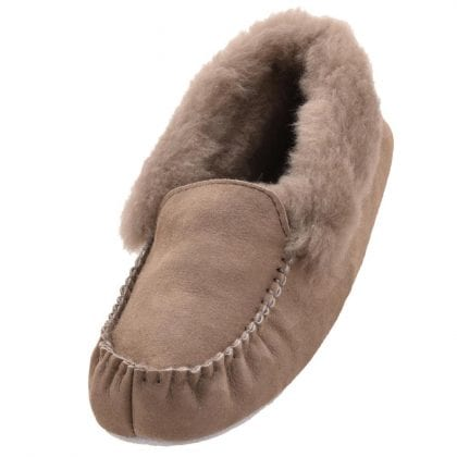 Ladies Genuine Sheepskin Moccasin Slippers with Suede Sole by Shepherd - Main