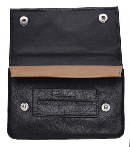 High Quality Soft Leather Fully Lined Tobacco Pouch - Open