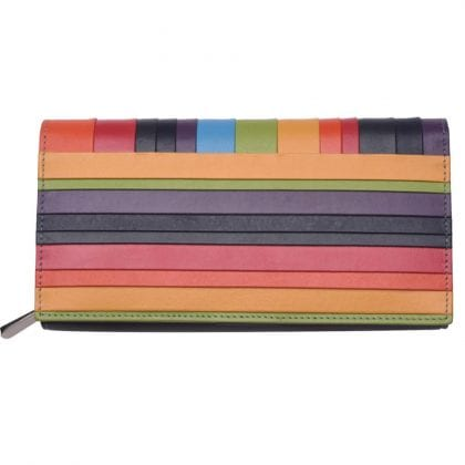 Ladies High Quality Deluxe Leather Striped Matinee Purse