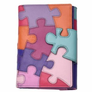 Ladies Deluxe Leather Puzzle Patterned Organiser Purse