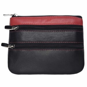 Super Soft Genuine Leather 3 Zipped Coin Purse