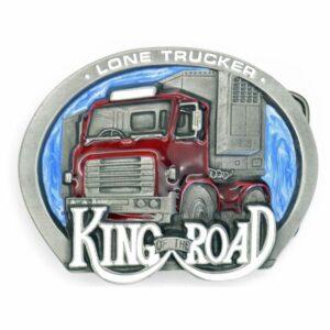 King of the Road - Lone Trucker Pewter Belt Buckle-0