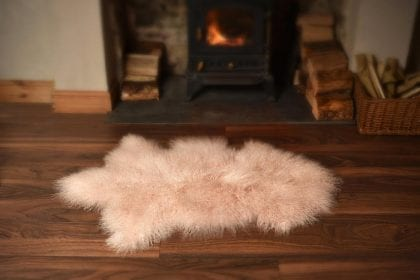 High Quality Tibetan - Mongolian Sheepskin Rug - Lifestyle