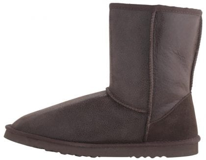 Mens Brown Sheepskin Boots with Aviator Finish and EVA Sole - Side