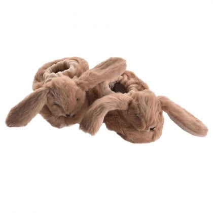 Jomanda Super Soft New Born Baby Booties with Cute Bunny Faces in Brown-0
