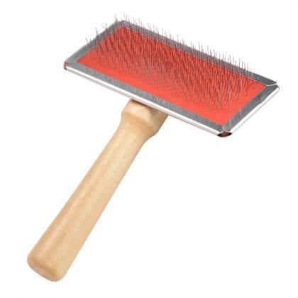 Sheepskin Rug Slicker Brush with Wooden Handle - Main