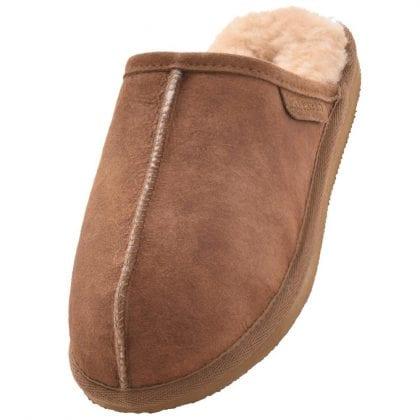 Mens Genuine Sheepskin Mule Slippers with Lightweight Sole by Shepherd of Sweden-0