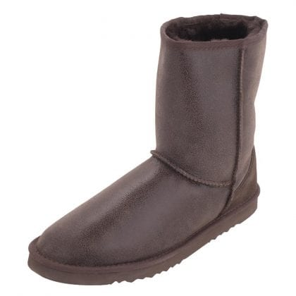 Mens Brown Sheepskin Boots with Aviator Finish and EVA Sole