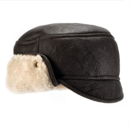 Mens Aviator Finished Sheepskin Trapper Hat with Turn Up Back
