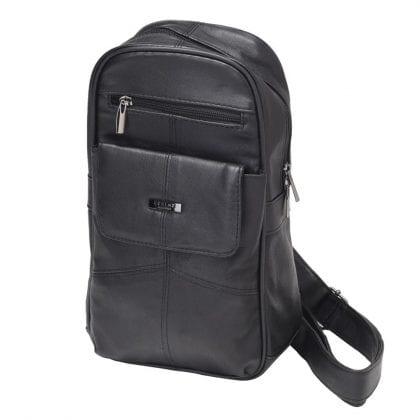 Unisex Soft Leather Single Sling Backpack - Rucksack - Front 2