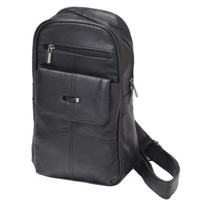 Unisex Soft Leather Single Sling Backpack - Rucksack - Front