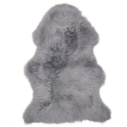 British Premium Quality Large Genuine Sheepskin Rug in Silver Grey - Front
