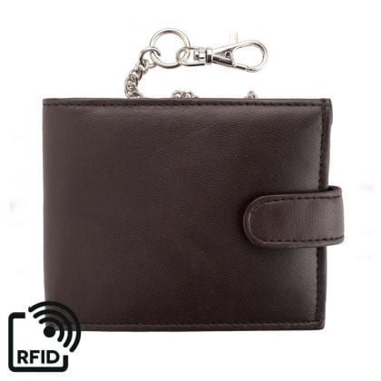 Mens Genuine Leather Wallet with Safety Chain-0