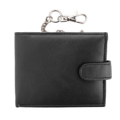 Mens Soft Genuine Nappa Leather Wallet with Safety Chain