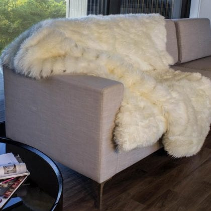 Genuine Lambskin Throw with Quilted Backing by Bowron - Main