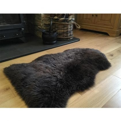 Super Soft Large Real Genuine Sheepskin Rug in Chocolate Tip Brown - Lifestyle