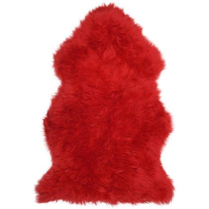 Super Soft Large Real Genuine Sheepskin Rug in Red - Main
