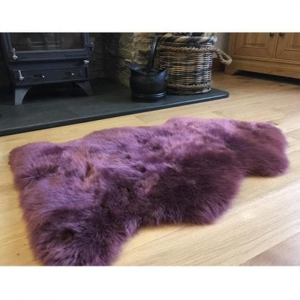 Super Soft Large Real Genuine Sheepskin Rug in Mulberry Purple - Lifestyle