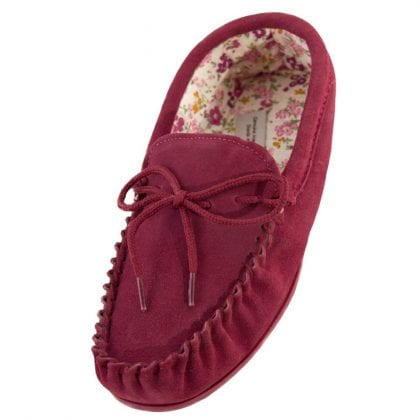 Ladies Suede Moccasin Slippers with Floral Fabric Lining and PVC Sole