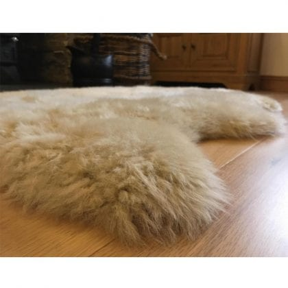Super Soft Large Real Genuine Sheepskin Rug in Beige - Lifestyle