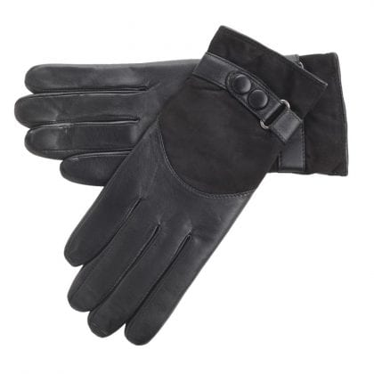 Ladies Soft Leather and Suede Gloves with Popper Fastening