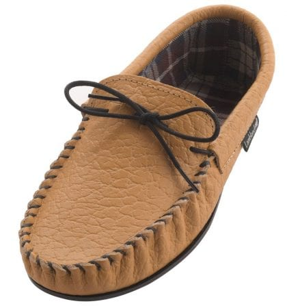 Mens Elephant Grained Leather Moccasin Slippers with Fabric Lining-0