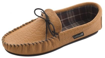 Mens Elephant Grained Leather Moccasin Slippers with Fabric Lining-187613
