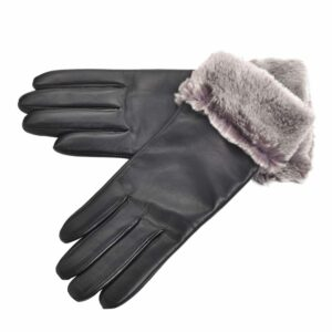 Ladies Premium Leather Gloves with Sheepskin Cuff - Top