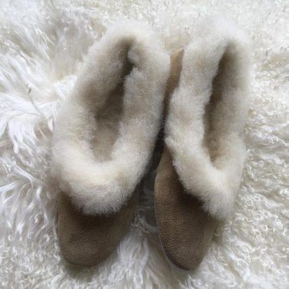 Ladies Suede & Wool Grecian Slippers-194805