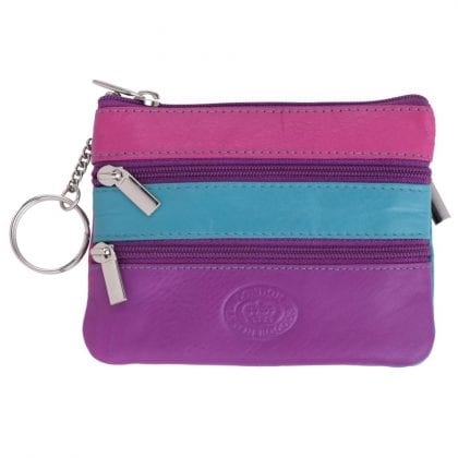 Super Soft Genuine Leather Multicoloured Multi Zipped Coin - Card Case