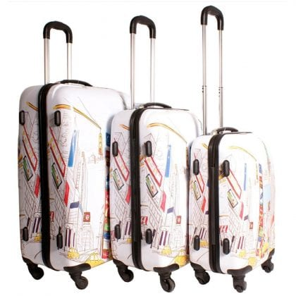New York Design Set of 3 Suitcases