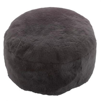 Genuine Short Fleece Sheepskin Pouffe - Footstool in Brown