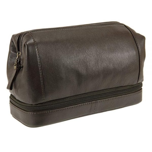 Unisex Top Frame Leather Wash Toiletry Bag with Bottom Zip in Brown