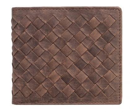 Mens Designer Luxury Criss Cross Leather Bifold Wallet