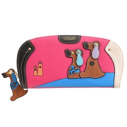 Ladies - Girls Large Zip Round Faux Leather Purse with Dog Design