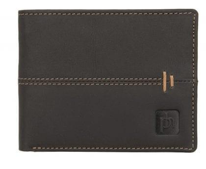 Mens Designer Flip Up Wallet with Orange Stitch Detail