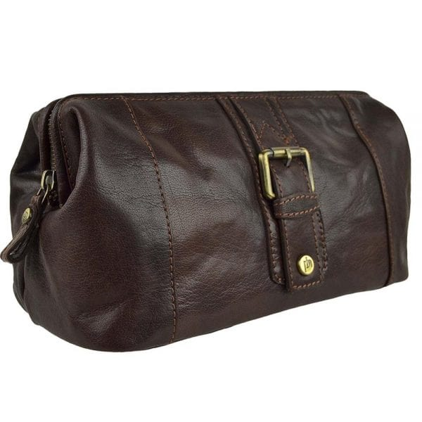 Unisex Stylish Leather Toiletry Bag from Prime Hide Trent Range in Mahogany Brown