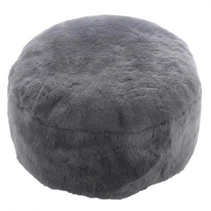 Genuine Short Fleece Sheepskin Pouffe - Footstool in Grey
