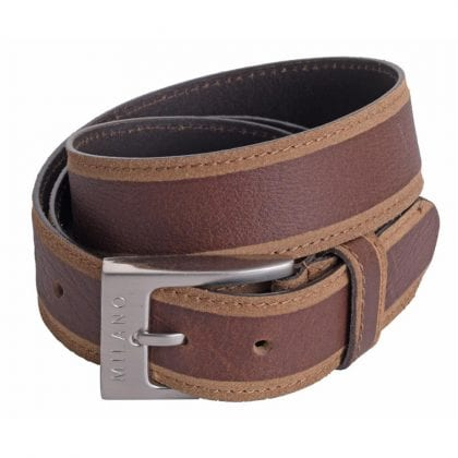 Mens 1.5 (40mm) Genuine Leather Belt with Skived Edge by Milano