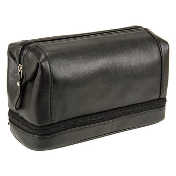 Unisex Top Frame Leather Wash Toiletry Bag with Bottom Zip in Black