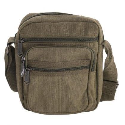 Unisex Multi Zip Canvas Work Bag with Adjustable Strap