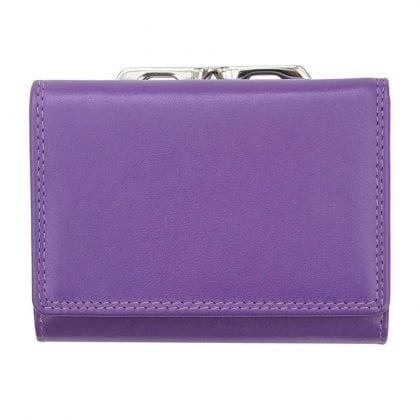 Ladies Ultra Soft Touch Metal Framed Tri-fold Purse