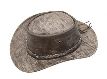 Wombat Leather Cow Hide Crushable Leather Hat - Side